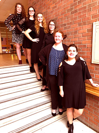 5 girls, treble choir, standing on stairs