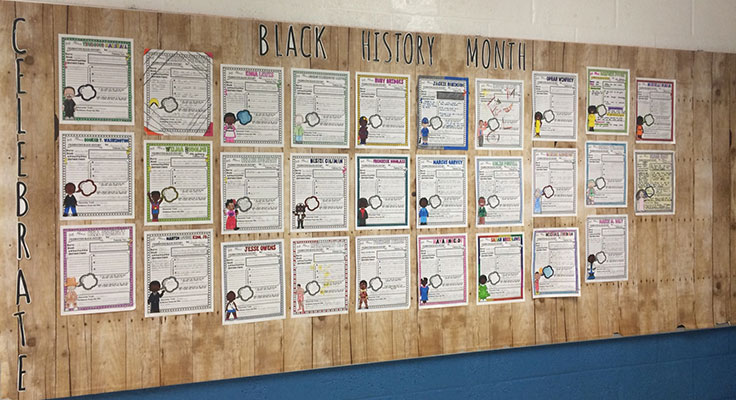 display of student work about Black History Month
