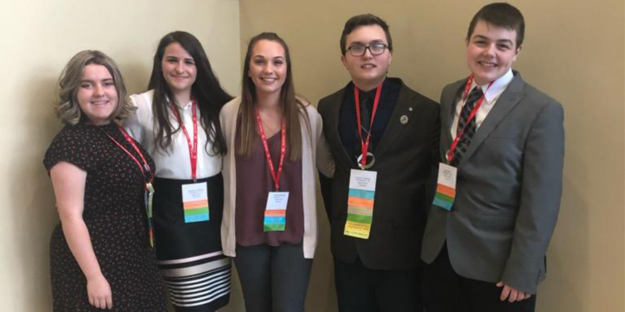 Jillian Rehberg, Jacquelyn Sullivan, Carissa Palmatier, David St. George, John Polley at FBLA conference