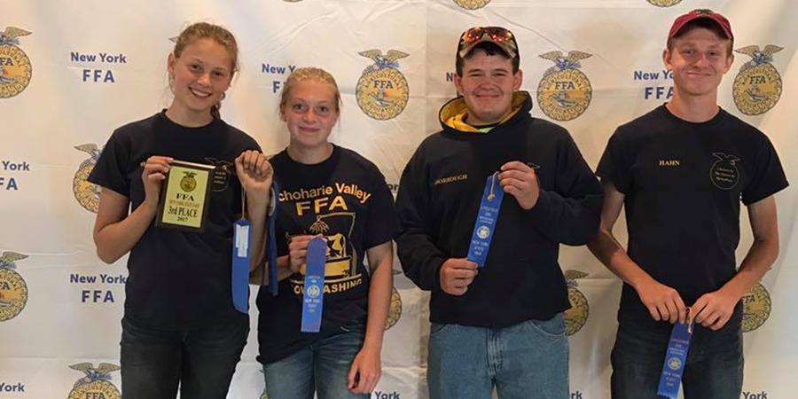 Students display FFA awards