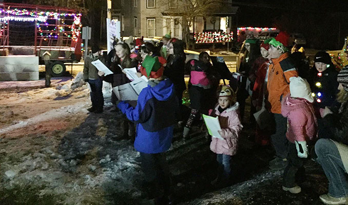 5th-7th grade students sing at tree lighting ceremony