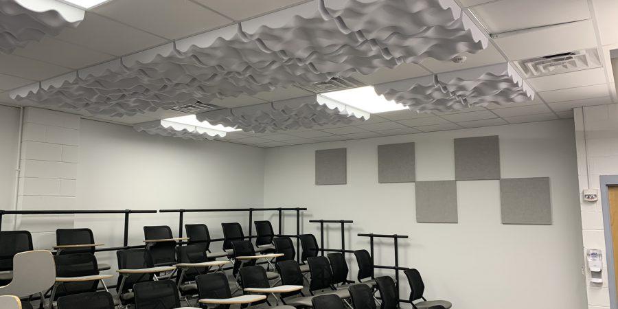 A chorus practice room is seen