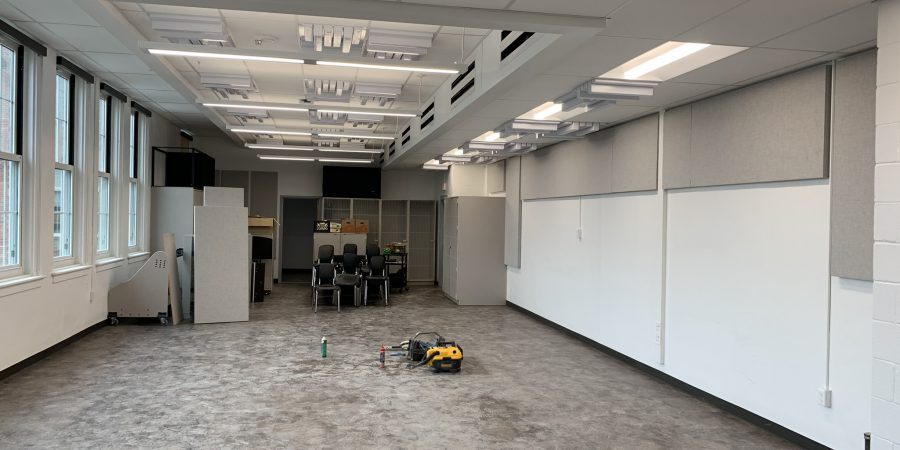A music practice room is seen