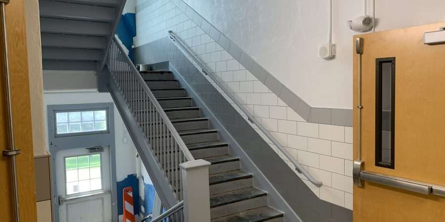 a renovated stairwell is seen