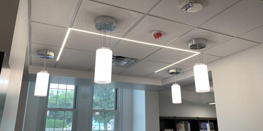 New lighting fixturesare seen in a library